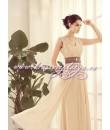 Шифоновое платье цвета шампанского со стразами