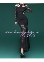 Длинное гипюровое черное платье с длинными рукавами