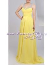Желтое длинное вечернее платье с камнями