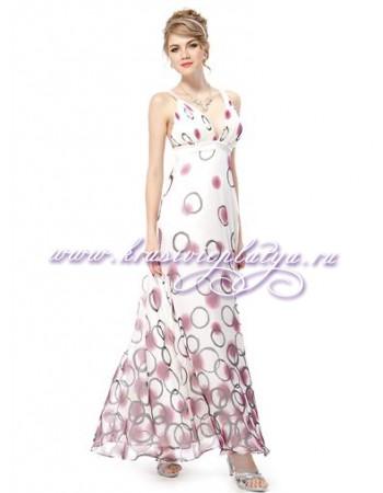 Длинное белое шифоновое платье с принтом