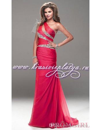 Вечернее розовое платье на одно плечо