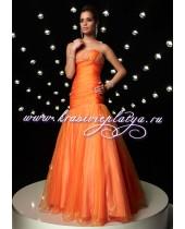 Вечернее оранжевое длинное платье