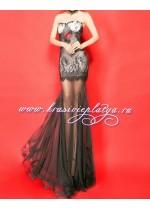 Длинное вечернее кружевное платье без бретелей