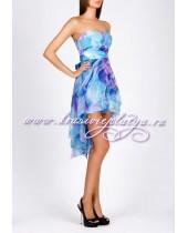Голубое коктейльное платье без бретелей