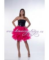 Короткое черно-розовое платье