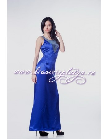 Элегантное длинное синее платье