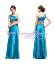 Длинное голубое платье на одно плечо с леопардовой вставкой