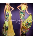Длинное вечернее желтое платье с принтом