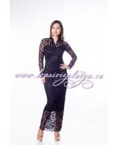 Длинное гипюровое черное платье с рукавами
