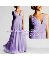 Элегантное сиреневое вечернее платье с украшением на плечах