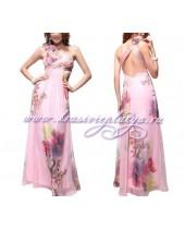 Длинное вечернее розовое платье с красивым вырезом на спине