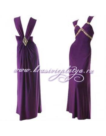 Длинное вечернее фиолетовое платье с камнями