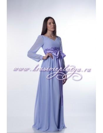 Нежно-сиреневое шифоновое платье с длинными рукавами и поясом