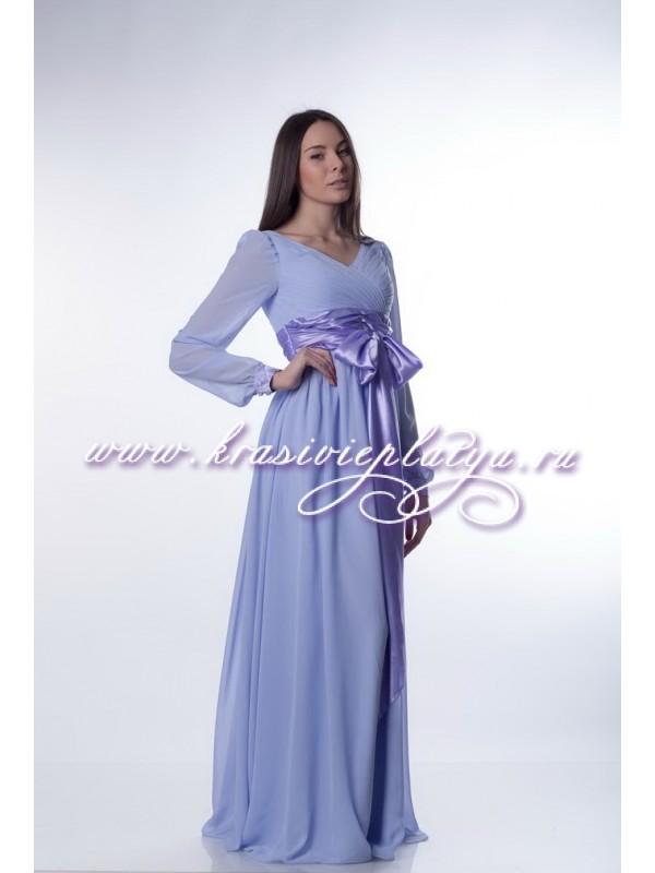 Длинные платья из шифона с поясом
