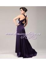 Фиолетовое вечернее платье с перекрестными бретелями на спине