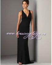 Черное вечернее платье с перекрестными бретелями на спине