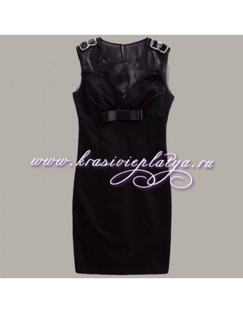 Короткое вечернее черное платье с бантиком