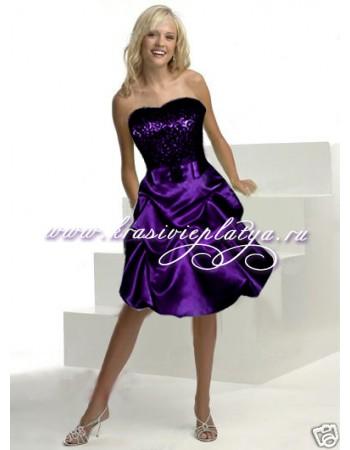 Короткое фиолетовое платье на выпускной