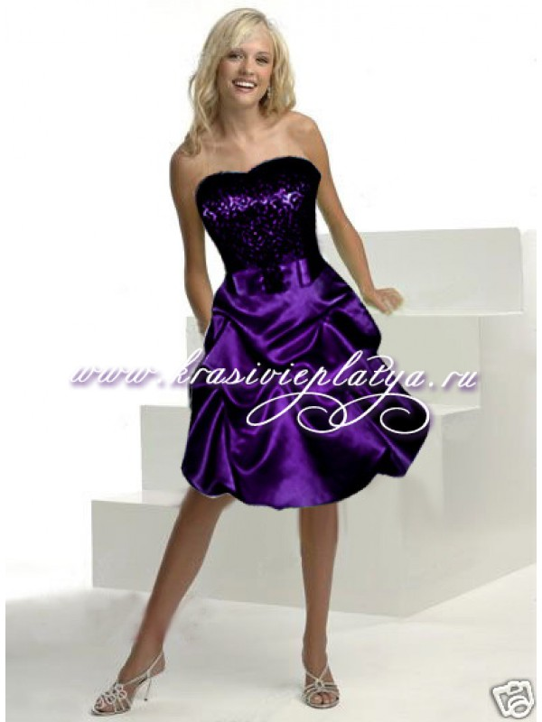 Короткое фиолетовое платье