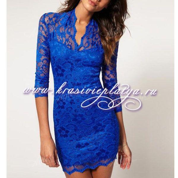 Синие платья из гипюра
