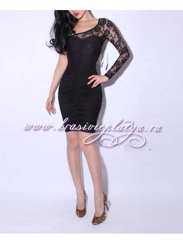 Черное платье с одним рукавом сшить фото 6
