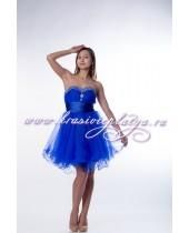 Коктейльное синее расклешенное платье без бретелей