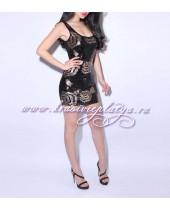 Черное короткое платье в пайетках