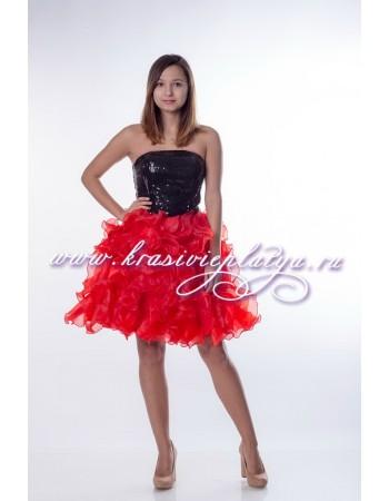 Короткое черно-красное пышное платье