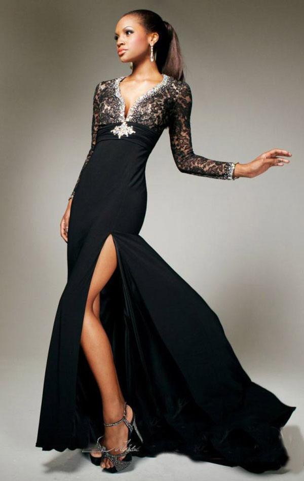 вечернее черное платье с гипюровыми рукавами